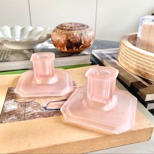 vintage frosted pink glass art deco candle holder